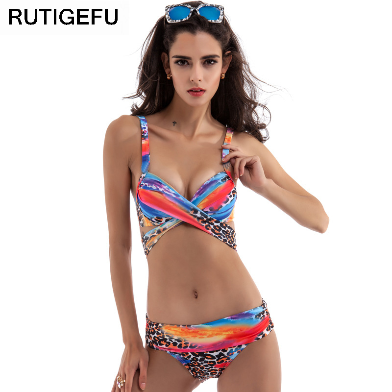 8afb9c63f 2017 nova impressão sexy maiô biquíni Brasileiro maiô sling push alta terno  biquíni plus size swimwear 3XL