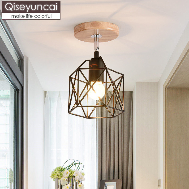 Qiseyuncai Nordic modern macaron color porch wrought iron ceiling lamp simple hall hall corridor aisle balcony wood lampsQiseyuncai Nordic modern macaron color porch wrought iron ceiling lamp simple hall hall corridor aisle balcony wood lamps