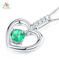 Павлин звезда прекрасно 14 К белого золота зеленый топаз кулон сердце Цепочки и ожерелья 0.04 ct diamond