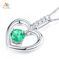 Peacock Star Fine 14K White Gold Green Topaz Heart Pendant Necklace 0.04 Ct Diamond