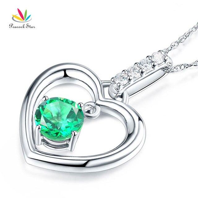 8592b02d687d Peacock estrella fine 14 K oro blanco Topacio verde collar pendiente del  corazón 0.04 CT diamante
