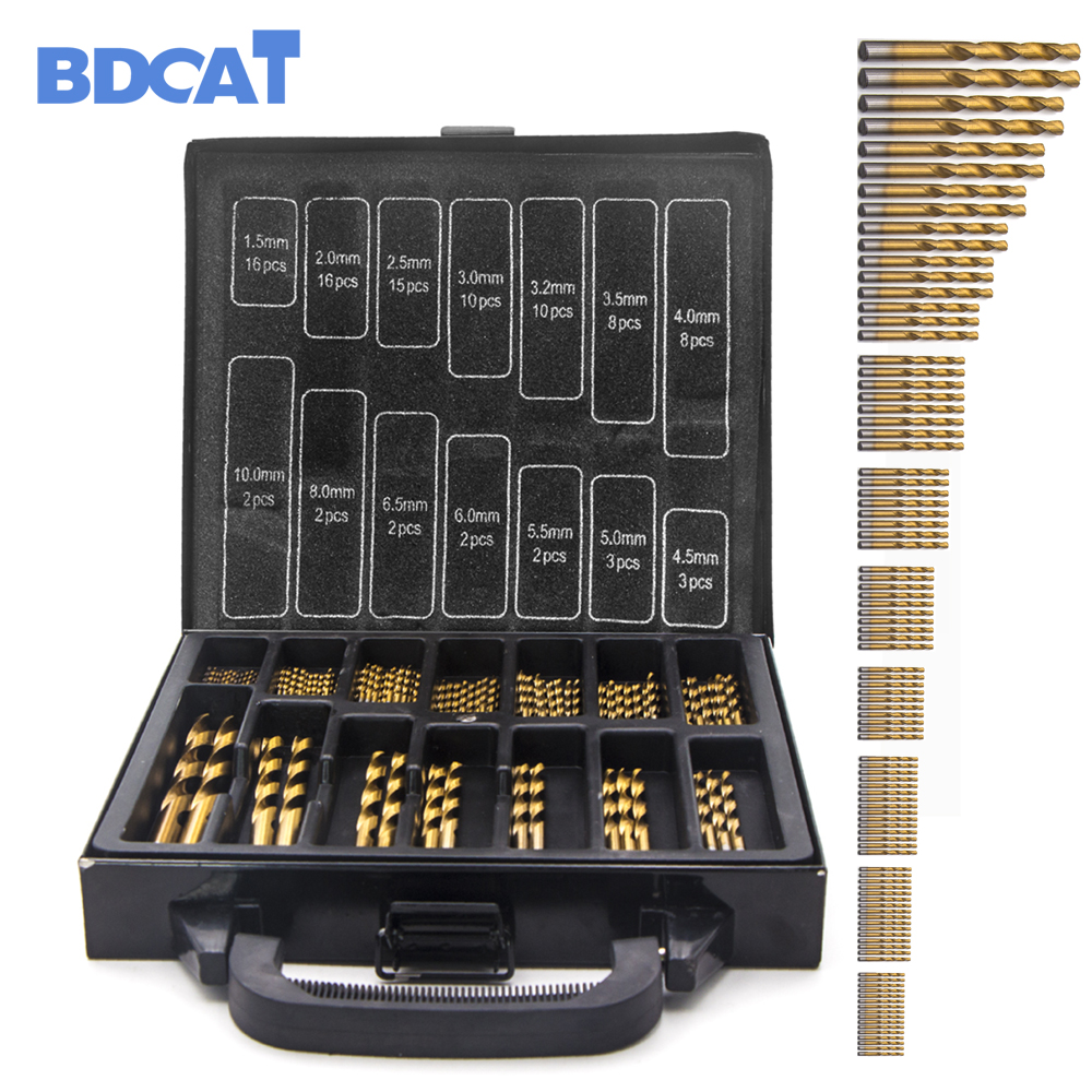 BDCAT 99pcs Titanium Coated HSS Twist Drill Bits Set and Case Plastic Wood Metal Kit Top Quality free shipping of 19mm hss metal plate opener drill bits core bits for stainles steel less 2mm and iron thin soft metal plastic