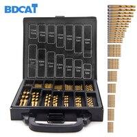 BDCAT 99pcs Titanium Coated HSS Twist Drill Bits Set And Case Plastic Wood Metal Kit Top