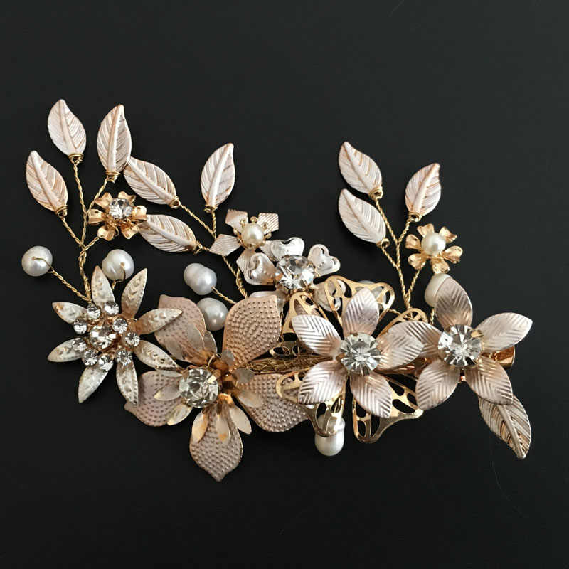 SLBRIDAL Golden Wired Crystal Rhinestone Freshwater Pearls Flower Wedding Hair Clip Barrettes Bridal Headpieces Hair Accessories
