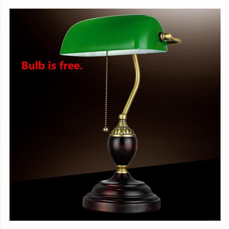 Vert émeraude Verre Table Lumineuse Puissance Banque Lampe de Bureau Bureau Rouge Bois Lampe Vintage E27 Lecture Lampes Industrielle Rétro Luminarias