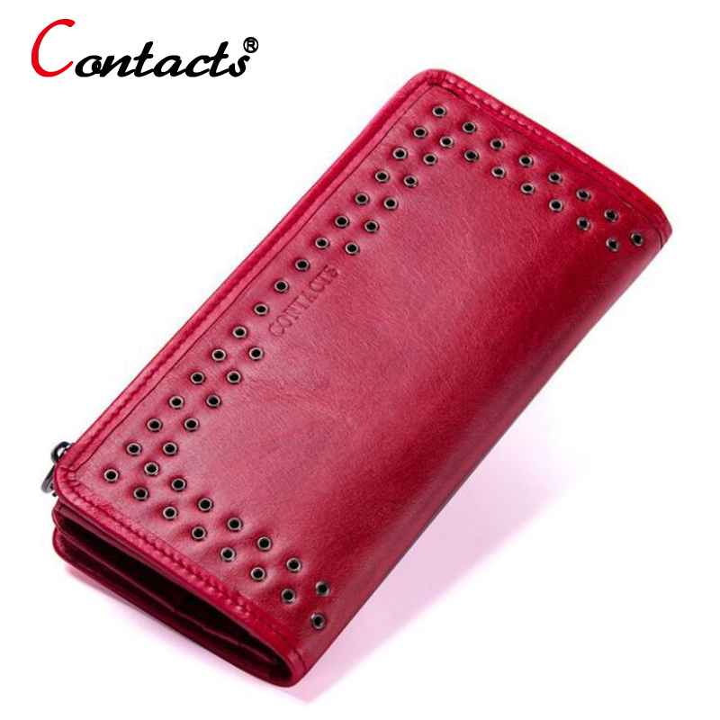 CONTACT'S Luxury Brand Women Wallets Genuine Leather wallet female purse Long Ladies Purse Clutch Bag Card Phone Holder Wallet famous brand women female ladies long leather wallets purse phone cases carteiras femininas business id credit card holder 45