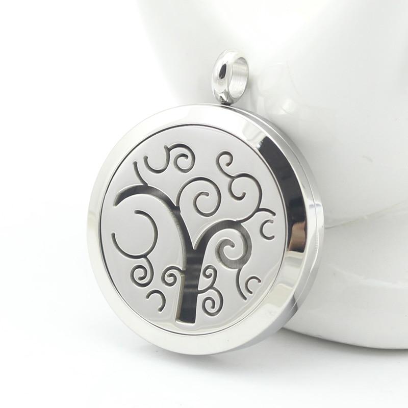 Stainless Steel wonderful tree Essential Oil Diffuser Perfume Locket Pendant Necklace