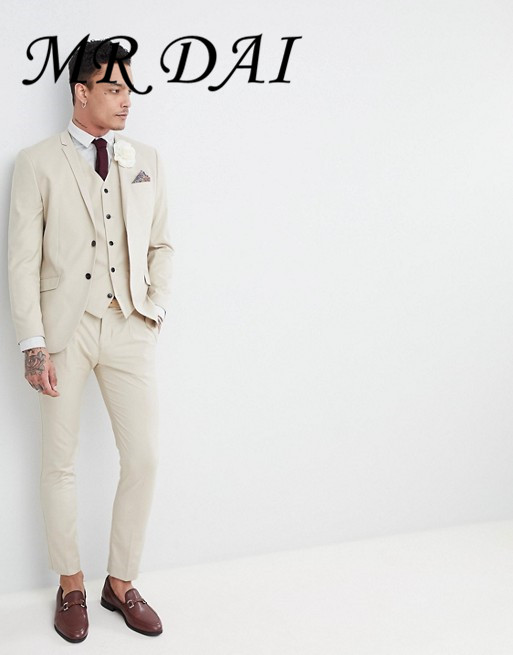 MD-460 Premium Skinny Suit In Summer Beige Man Groom Suit Slim Fit Suit Male Business Coat Fashion Formal Men jacket+pants+vest