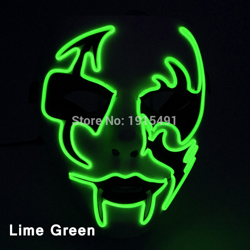 Burning Man Festival Decor Neon Led Strip Glowing Scare Mask Arrow Demon EL Cable Rope Party Full-Face Mask by DC3V Batterycase