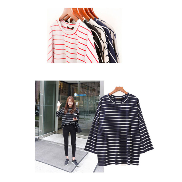 5 Colors Hot Sale Fashion Long T-shirt Women Stripes Striped Loose 3/4 Sleeve O-neck Casual T Shirt Tee Shirt Femme Tops Woman