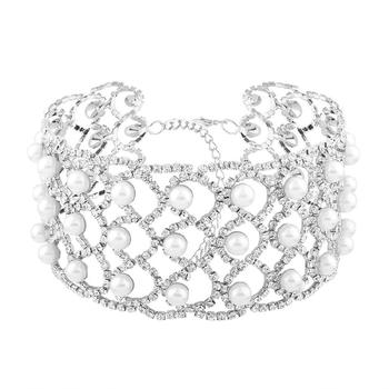 176fd6cdd7a9 Soñar ancho elegante cristal Rhinestone Choker collar mujeres simulado  perlas Pave gargantillas joyería de moda