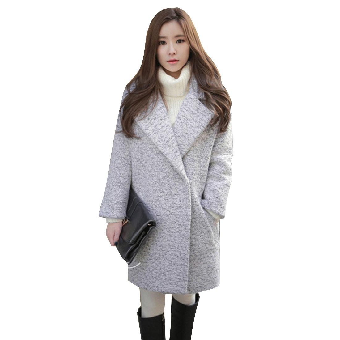 Col D'hiver De À Beige Mélange Laine Cardigan Mode Revers Femme X8n0POkw
