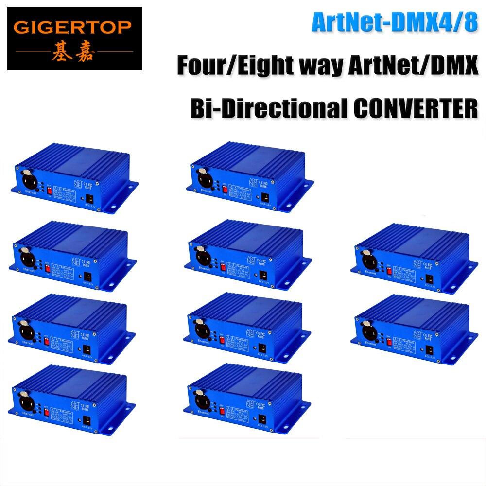 Factory Sales 10X Art-Net Network Console Professional Ethenet/DMX512 Signal Converter INPUT MODE/ OUTPUT MODE Blue Color Box