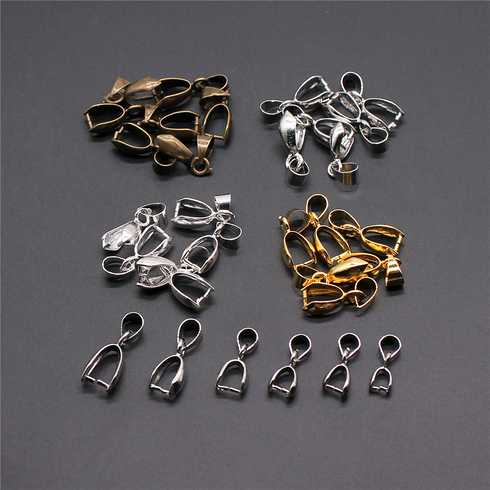 30pcs 4 Colors Pendant Clip Clasp Pinch Clip Bail Pendant Connectors Bail Beads Jewelry Findings Accessories Copper Material(China)