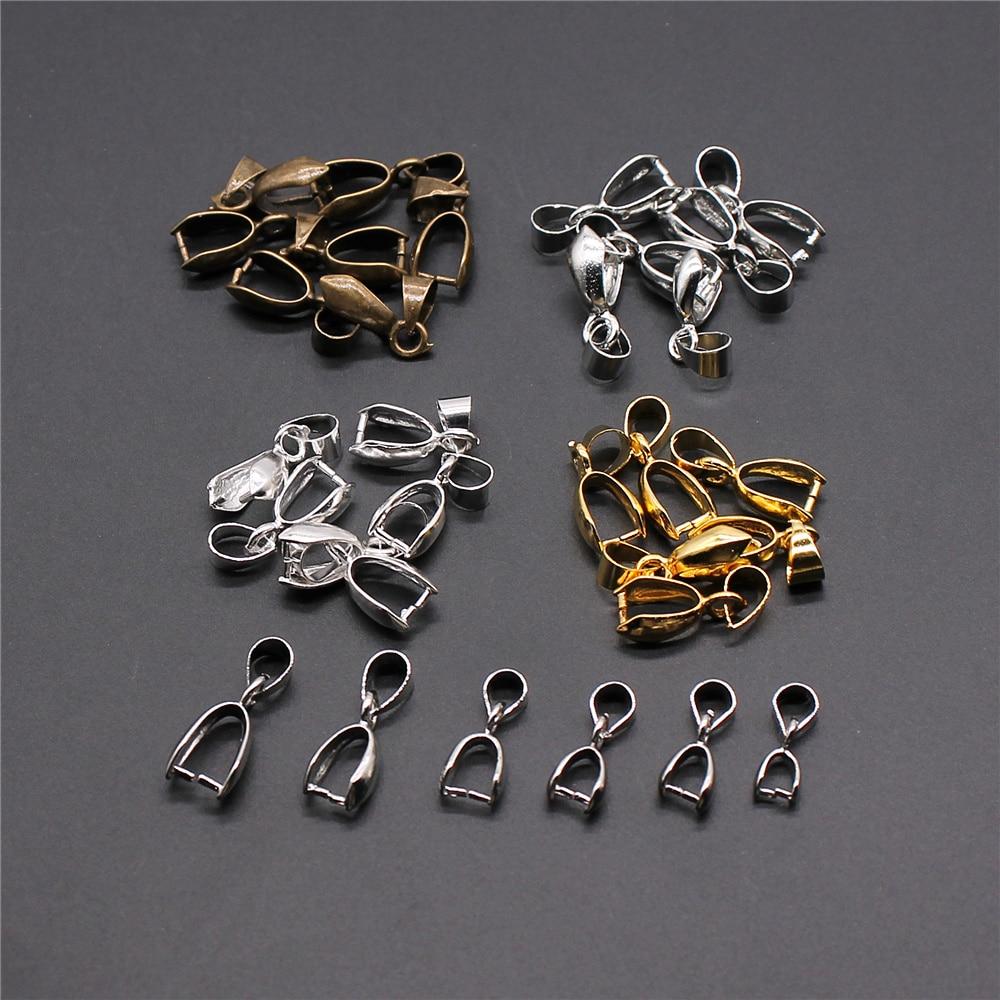 30pcs 4 Colors Pendant Clip Clasp Pinch Clip Bail Pendant Connectors Bail Beads Jewelry Findings Accessories Copper Material
