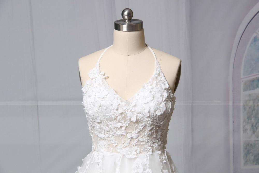 A-Line Blonda Bröllopsklänningar 2018 V-Neck Ärmlös Backless - Bröllopsklänningar - Foto 2