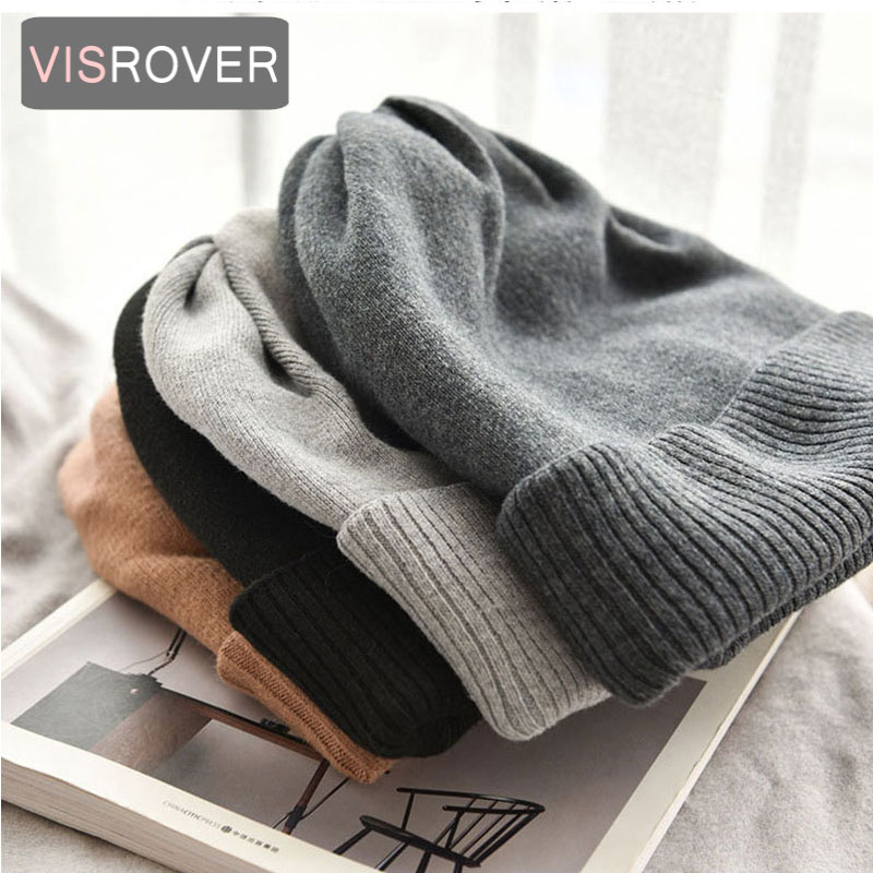 VISROVER  6 Colors Unisex Autumn Winter Solid Color Real Cashmere Beanies Best Matched New Cashmere Man Woman Warm Skullies