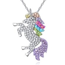 High Quality Crystal Unicorn Necklaces & Pendants Trendy Jewelry For Women Baby Gifts for Girls Rainbow Animal Necklace(China)