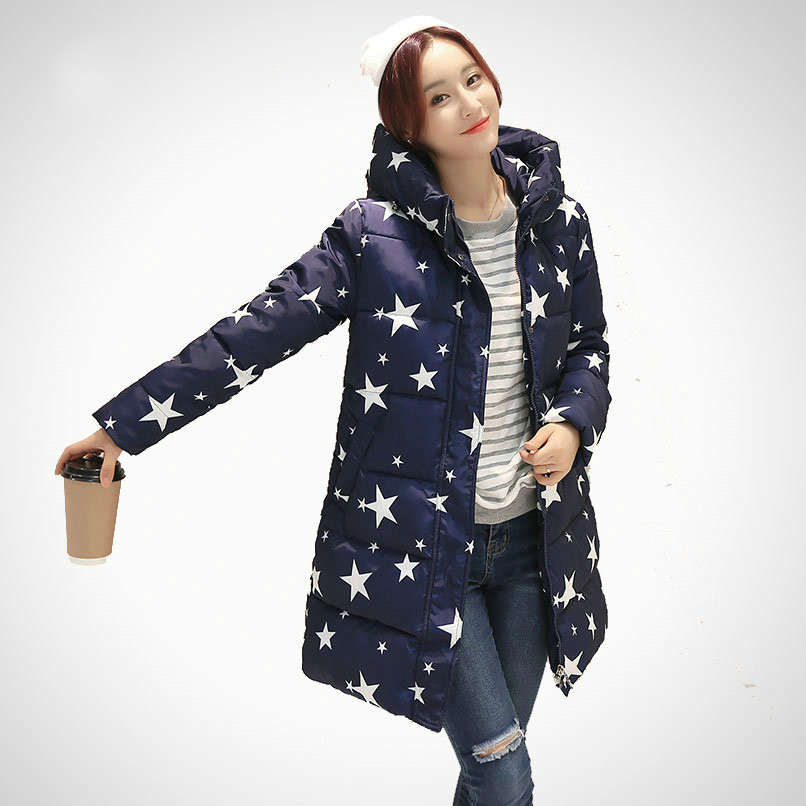 ФОТО Women Fashion Coat Slim Fit High Neckline Lady Hooded Jacket With Star Print Regular Length Thick Warm Winter Outfit Female Coat