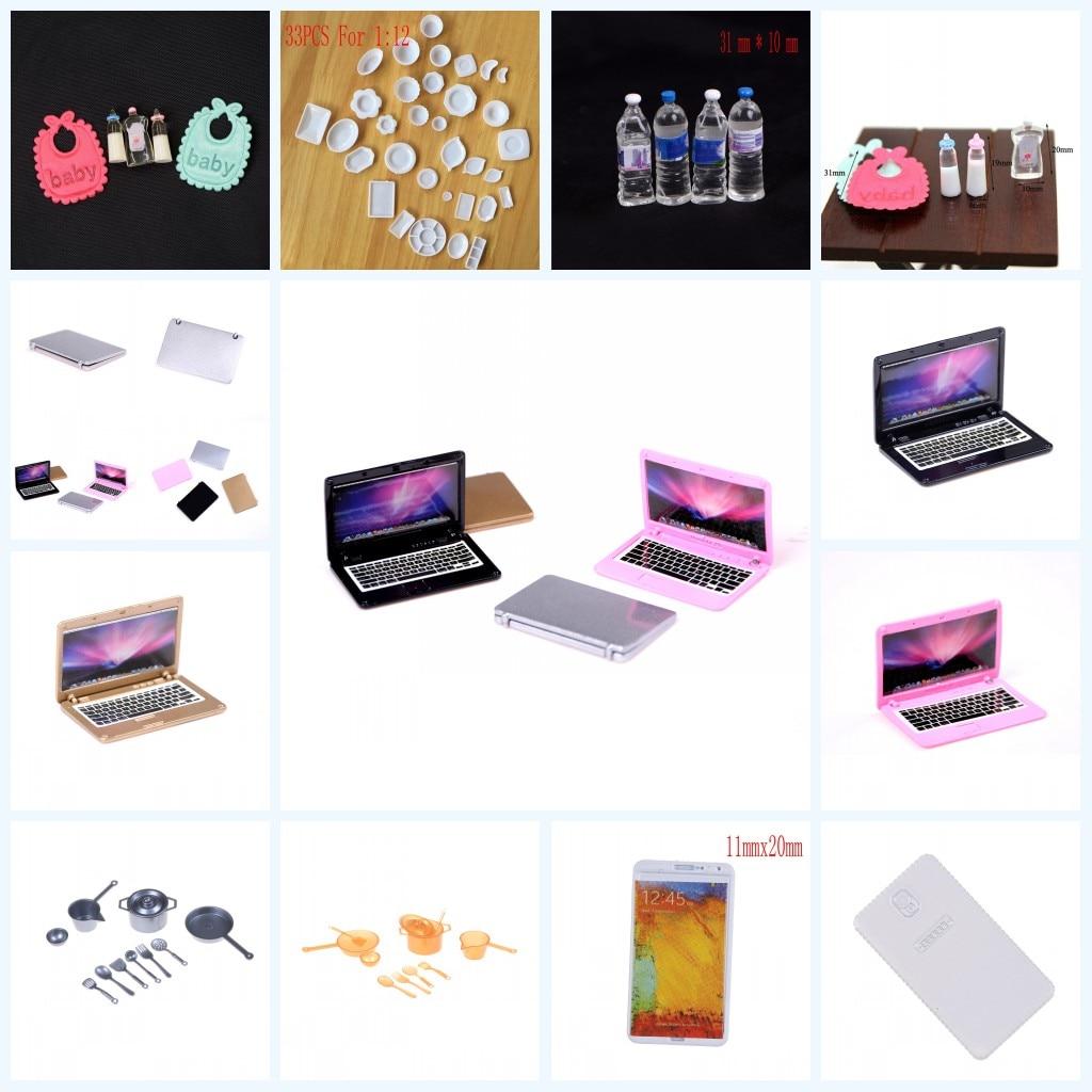 1 Satz Mini Laptop Computer Gerichte Telefon Geschirr Puppenhaus Funitures Für 1/6 Oder 1/12 Puppenhaus Pretend Spielzeug Für Kinder Hohe Sicherheit