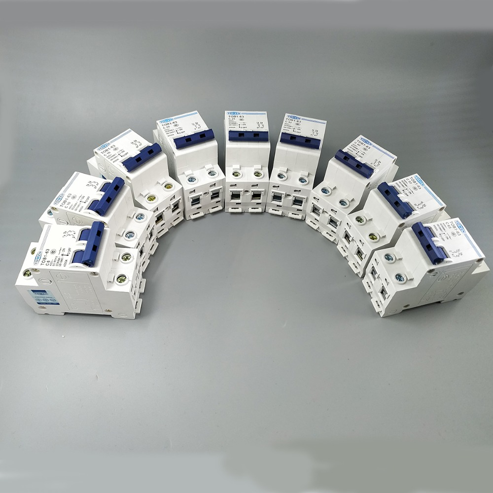 2P AC MCB TOB1-63 C type 230/400V~ 50HZ/60HZ Mini Circuit breaker 6A 10A 16A 20A 25A 32A 40A 50A 63A 400 amp 3 pole cm1 type moulded case type circuit breaker mccb