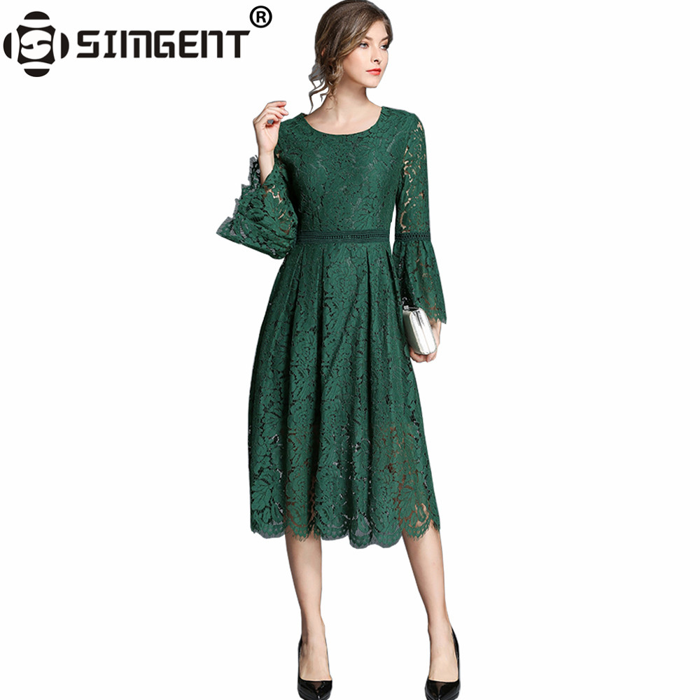 Simgent Office Lady Autumn Flare Sleeve Hollow Out Long Party Lace Dress Women's Clothing Lace Vestidos Para Senhoras SG78122