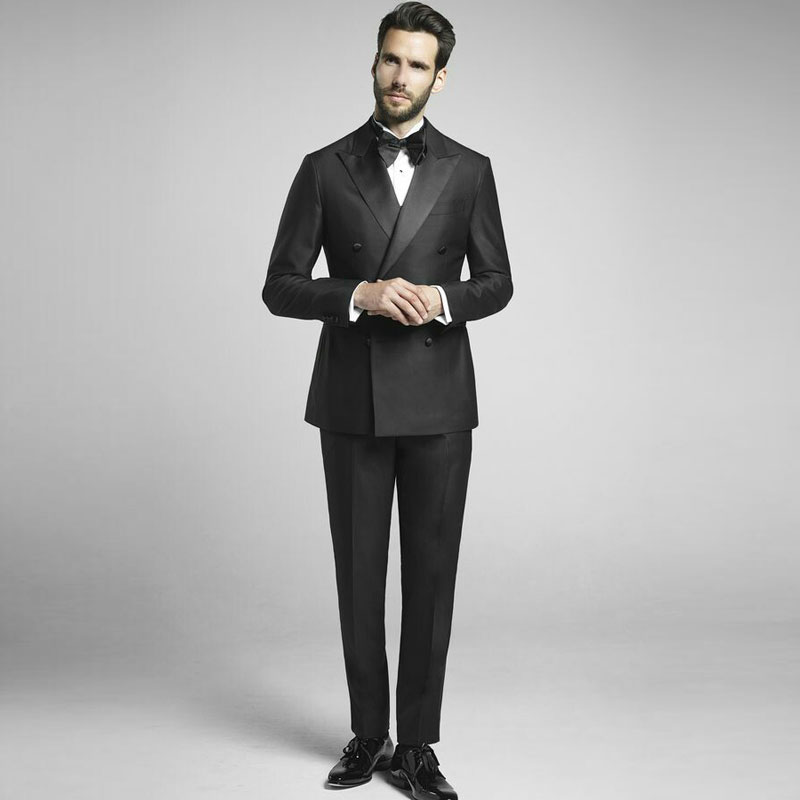 Vintage Black Men Suits Set Wedding Tuxedo For Groom Wear 2 Piece Suit Man Costume Homme Slim Fit Terno Masculino Prom Party
