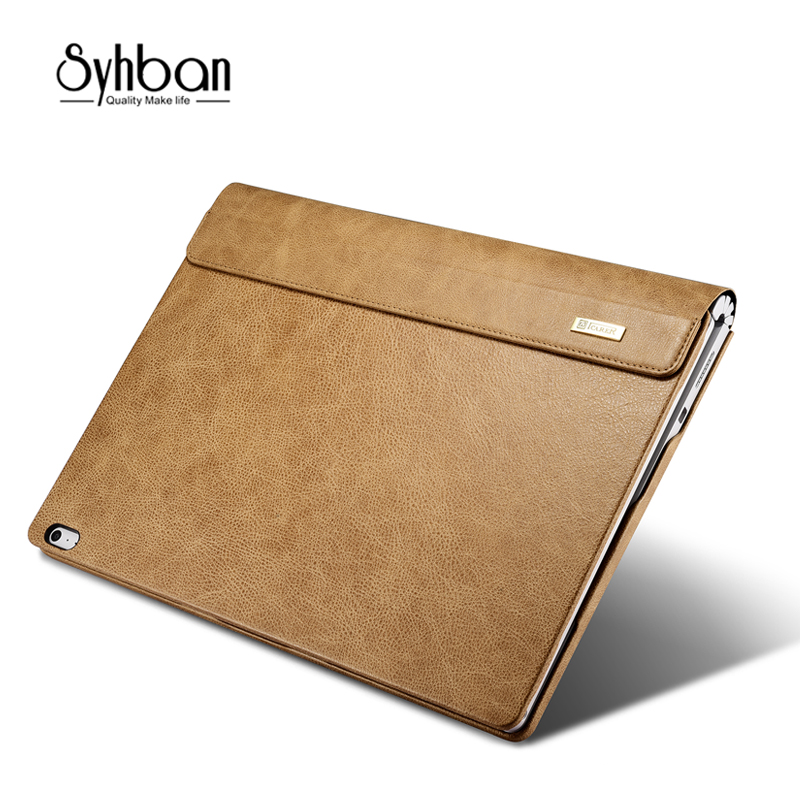 все цены на For Apple surface book12.9'' Inch Vintage Leather Case Genuine Leather Folio Protective Case for surface book Stand Mount Holde