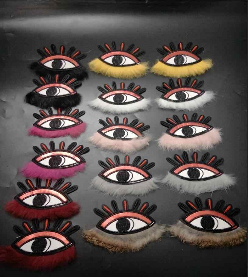 1Pair of Embroidered eye Patches for Clothing Iron Sewing Applique Clothes Badge Stickers Jeans Jacket Decoration DIY Patches