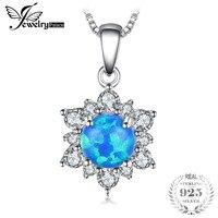 JewelryPalace 0.6ct Utworzono Czarny Opale Księżna Diana Halo Wisiorek Naszyjnik 925 Sterling Silver 18 Cali Hot Sprzedaży Prezent