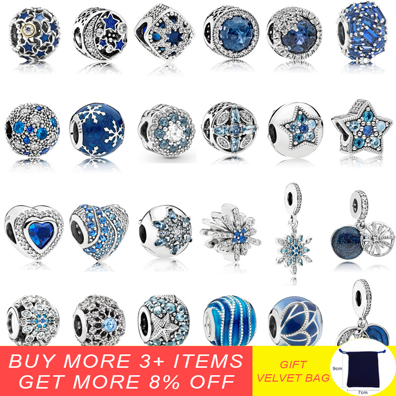 925 Sterling Silver Sparkling Dark Blue Charm Dazzling Snowflake Pendant Beads Fit Pandora Original Charm Bracelets Jewelry