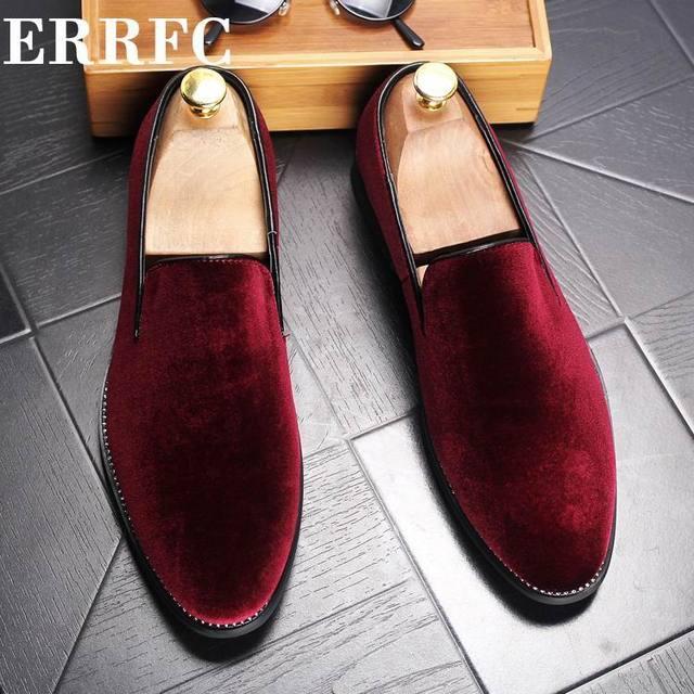 ebdc631a50c ERRFC de los hombres de lujo rojo holgazán zapatos de moda Zapatos de  deslizamiento en rebaño