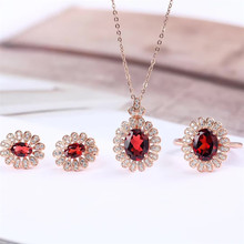 fashionable oval 925 sterling silver natural red garnet earring necklace pendant ring jewelry set for wedding engagement