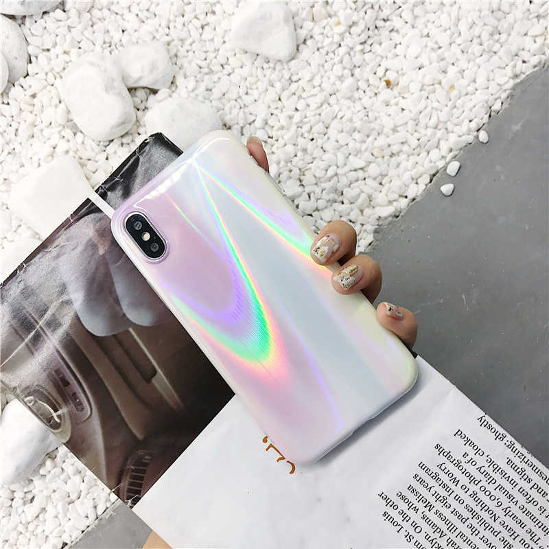 Aurora laser marble Case for iphone X XR XS XS Max Glossy soft silicone Case For iphone 6 6s 7 8 7plus phone back cover