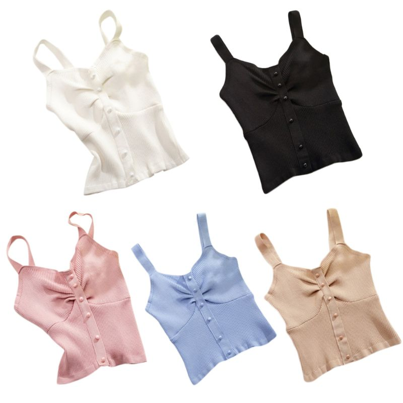 Women Summer Sweet Candy Color Top Ribbed Knitted Button Down Wide Strap Camisole V Neck Ruched Slim Fit Casual Basic Vest in Tank Tops from Women 39 s Clothing