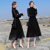 Черное вечернее элегантное Сетчатое платье с рукавами; сезон весна-осень; однотонное платье в горошек; осенние женские модные платья
