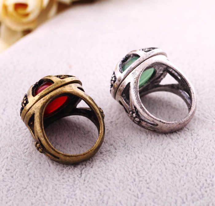 Vintage Blue & Redรอบอัญมณีใหญ่แหวนหญิงทองโบราณโบราณFingerแหวนเครื่องประดับอินเดีย