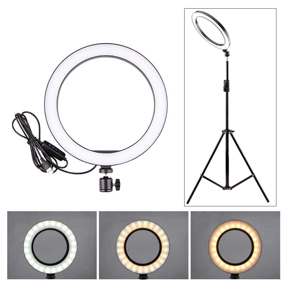5/12W LED Selfie Ring Light Studio Photography Photo Lights Fill Light Tripod for Mobile Phone Live Makeup 160MM/260MM Optional