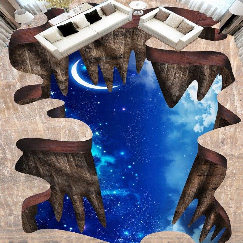 Kostenloser Versand Blau Fantasie Cosmic Mond Boden Malerei 3d Wallpaper Rolle Mural Wohnzimmer Schlafzimmer Dekoration