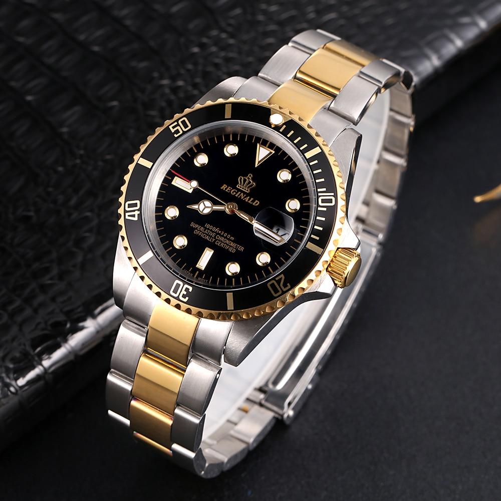 Image 5 - REGINALD Watch Men Rotatable Bezel GMT Sapphire glass 50m Water Full Steel Sport Fashion blue dial Quartz Watch Reloj HombreQuartz Watches   -