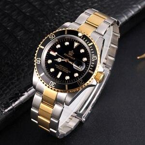 Image 5 - REGINALD Watch Men Rotatable Bezel GMT Sapphire glass 50m Water Full Steel Sport Fashion blue dial Quartz Watch Reloj Hombre