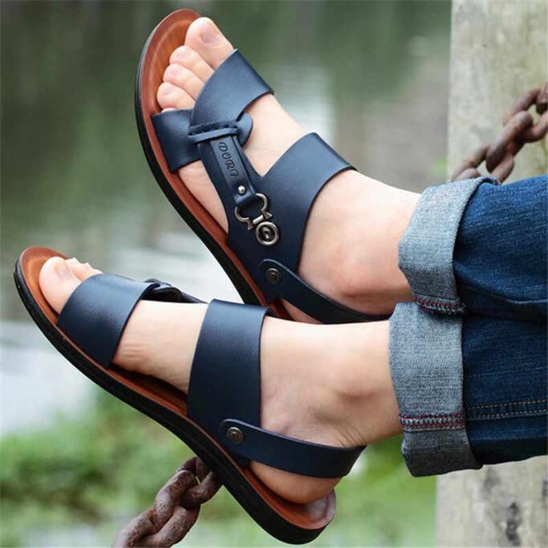 Yeni yaz erkekler açık ayak sandalet moda trendi plaj ayakkabısı terlik erkek sandaletler ve terlikler moda rahat erkek ayakkabıları