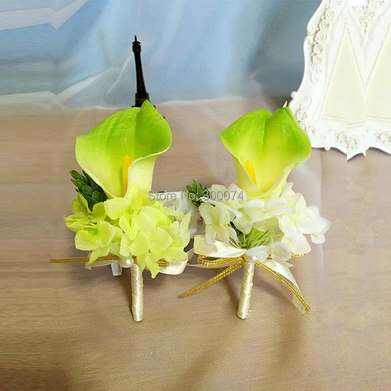 4pcs Lot Artificial Calla Lily Boutonniere With Silk Hydrangea