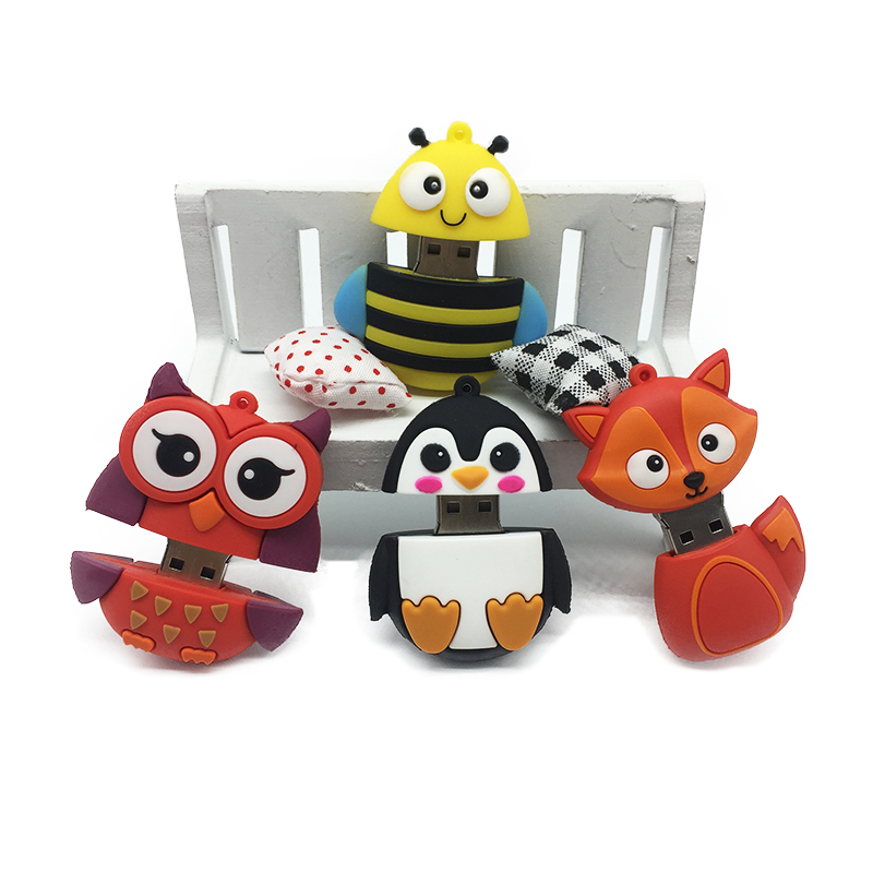 Hot usb flash drive 2.0 pen drive 32GB pendrive 4GB 8GB 16GB 64GB 128GB flash memory Fox Bee Owl Penguin Cute gift free shipping (7)