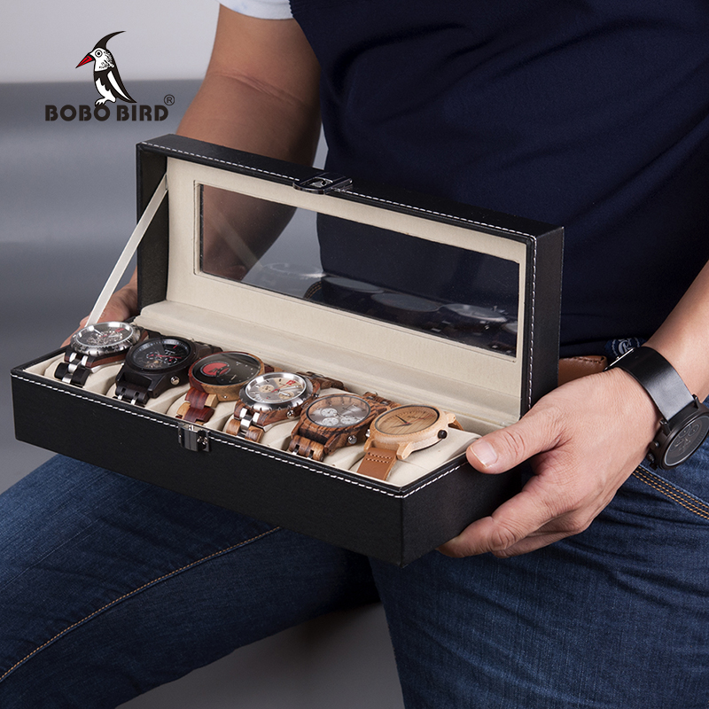 BOBO BIRD Watches Display Boxes 6 /10 Grids Leatherette Watch Box Case Holder Jewelry Display saat kutusu цены