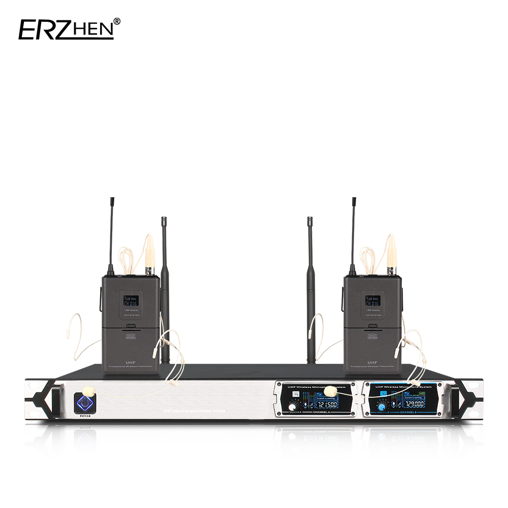 Wireless Microphone New U8000GT2 UHF 2 Channel Fixed Frequency + Dynamic Screen + KTV + Professional Microphone uhf wireless microphone system dual channel ir frequency body pack belt transmitter karoke ktv party uhf dynamic microphone