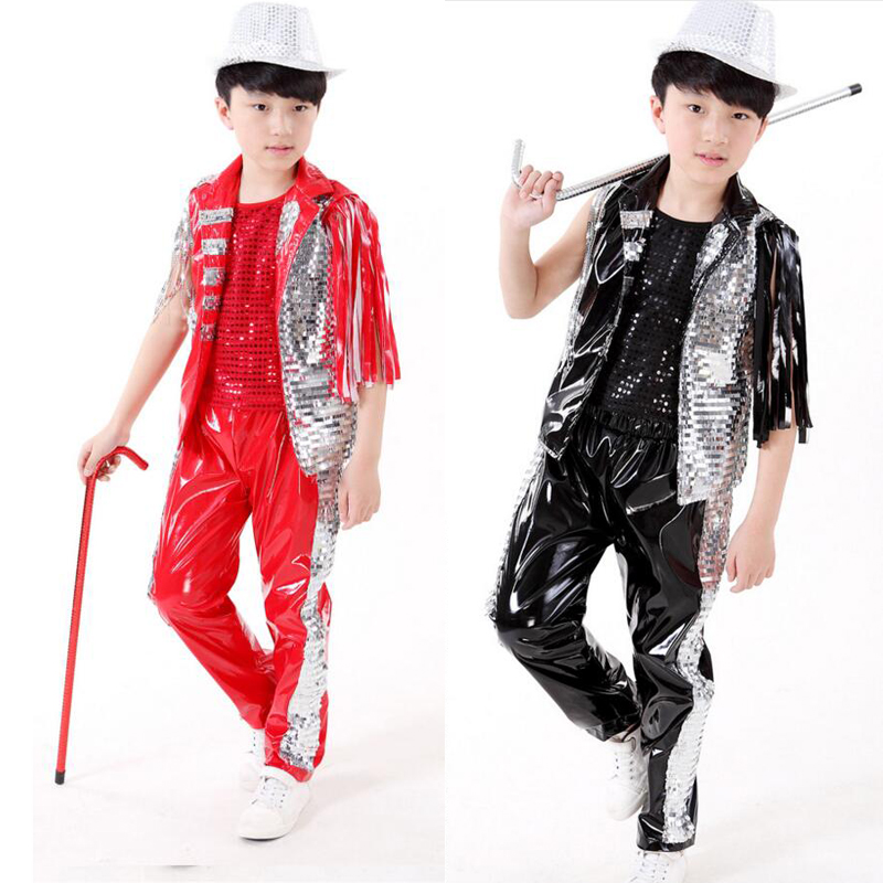 ad859b2fc Black Red Bright Kids Jazz Dance Costumes tops+Pants Boys Modern Hip ...