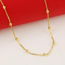 Цена чистое золото цветная цепочка с золотой бусиной ожерелье, 24 К золото GP 2 мм коробка цепь с шариками ожерелья 45 см длинное ожерелье для любви