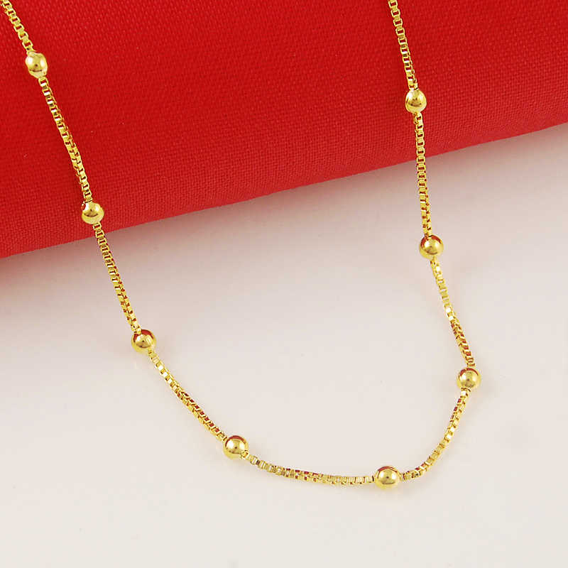 Wholesale Price pure gold color gold bead chain necklace,24k gold GP 2MM box chain with balls necklaces 45cm long love necklace
