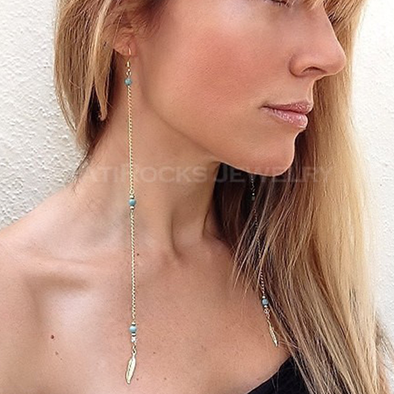 Long Earring Bohemia Ethnic turquoise Beads Feather Drop earrings for women  ER028